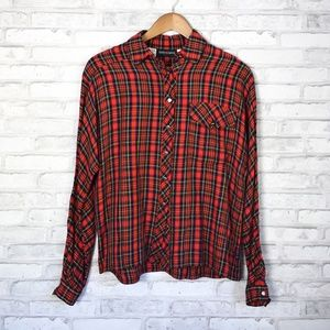 Vintage Red Plaid Flannel button down blouse